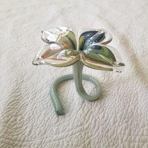 Art Glass Flower with Twirl Stem